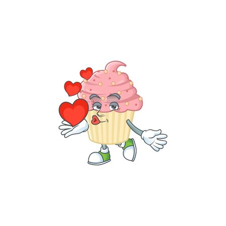 An adorable cartoon design of strawberry cupcake holding heart. Vector illustration