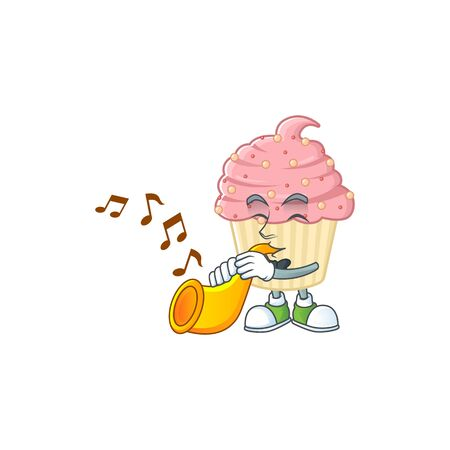 A brilliant musician of strawberry cupcake cartoon character playing a trumpet. Vector illustration 向量圖像