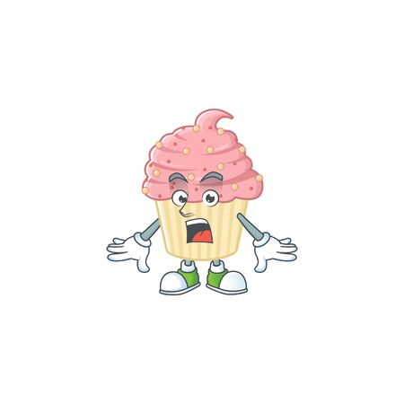 A cartoon design of strawberry cupcake showing an amazed gesture. Vector illustration