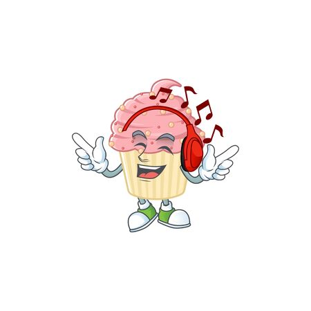 Cartoon mascot design strawberry cupcake enjoying music with headset. Vector illustration