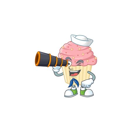 Strawberry cupcake in Sailor cartoon character style using a binocular. Vector illustration