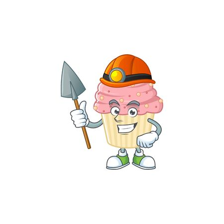 cartoon character design of strawberry cupcake work as a miner. Vector illustration