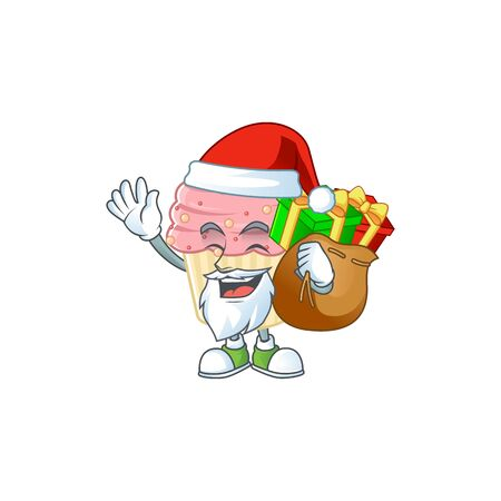 Santa strawberry cupcake Cartoon character design with sacks of gifts. Vector illustration