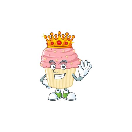 The Charismatic King of strawberry cupcake cartoon character design wearing gold crown. Vector illustration
