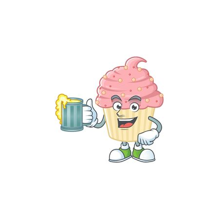 Happy strawberry cupcake mascot style toast with a glass of beer. Vector illustration 向量圖像