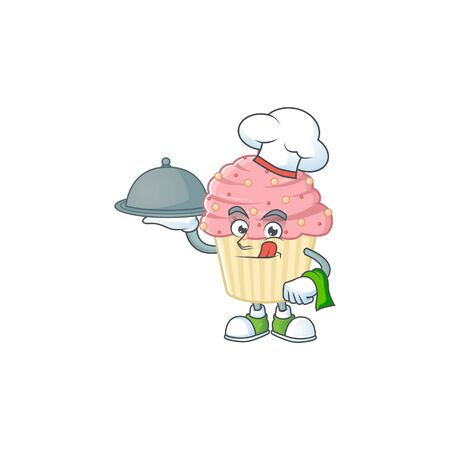 A strawberry cupcake chef cartoon design with hat and tray. Vector illustration 向量圖像