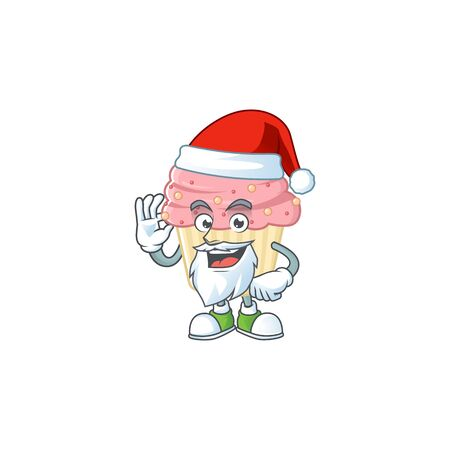 Friendly strawberry cupcake Santa cartoon character design with ok finger. Vector illustration 向量圖像
