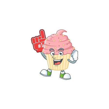 Cartoon character concept of strawberry cupcake holding red foam finger. Vector illustration