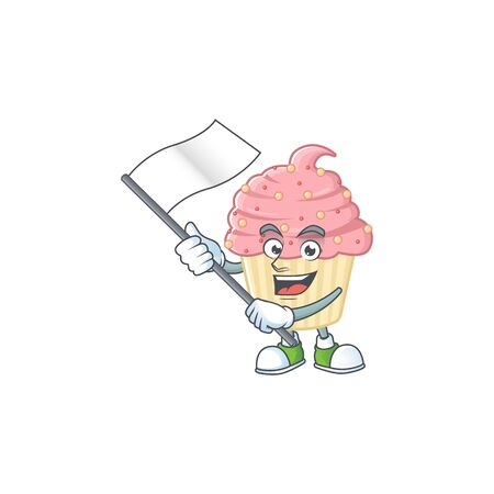 Cute cartoon character of strawberry cupcake holding white flag. Vector illustration