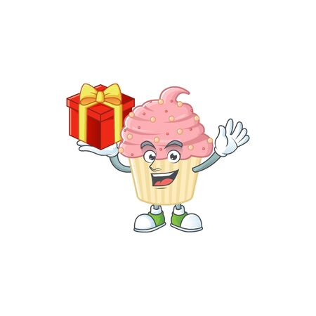 Charming strawberry cupcake mascot design has a red box of gift. Vector illustration