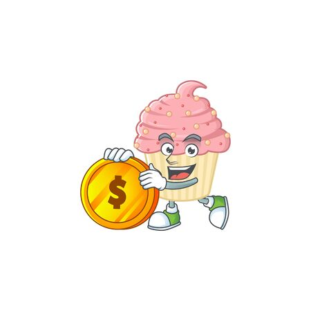 Strawberry cupcake rich cartoon character have big gold coin. Vector illustration