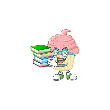 A mascot design of strawberry cupcake student character with book. Vector illustration
