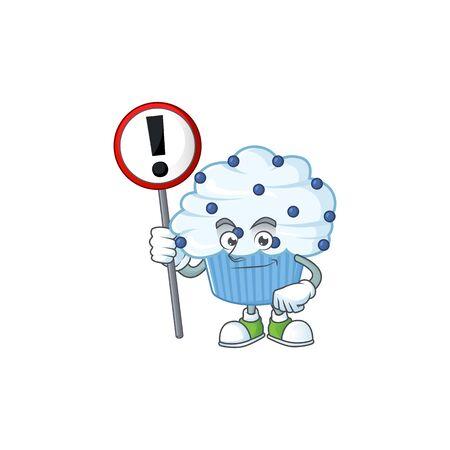 A picture of vanilla blue cupcake cartoon character concept holding a sign. Vector illustration Ilustração