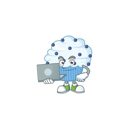 Diligent vanilla blue cupcake mascot design style working from home with laptop. Vector illustration Ilustração