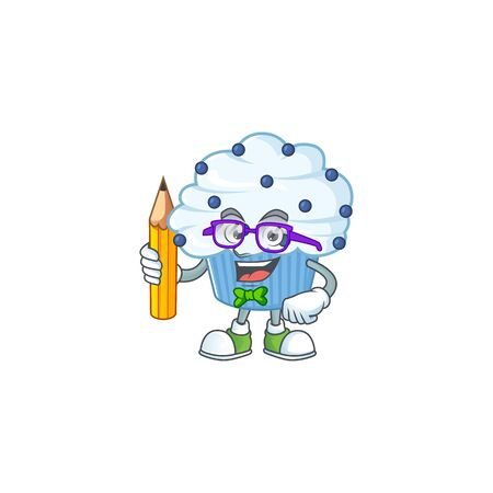 Vanilla blue cupcake student cartoon character studying with pencil. Vector illustration