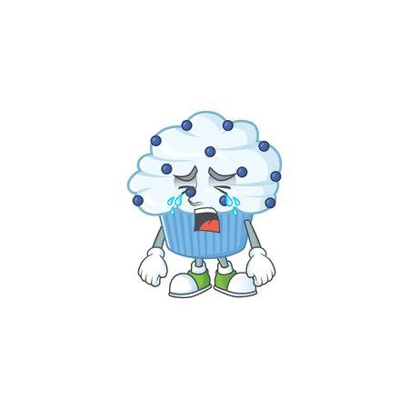 A weeping vanilla blue cupcake cartoon character concept. Vector illustration Illustration