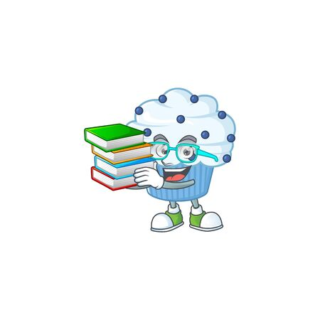 A mascot design of vanilla blue cupcake student character with book. Vector illustration
