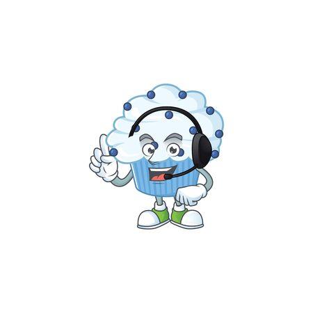 Vanilla blue cupcake cartoon character style speaking on headphone. Vector illustration