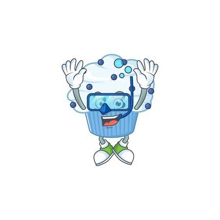 Mascot design concept of vanilla blue cupcake wearing Diving glasses. Vector illustration Çizim