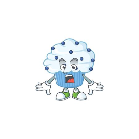 A cartoon design of vanilla blue cupcake showing an amazed gesture. Vector illustration 向量圖像
