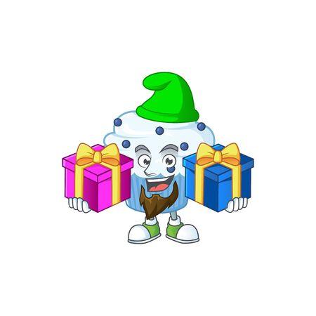 A smiling vanilla blue cupcake cartoon design having Christmas gifts. Vector illustration