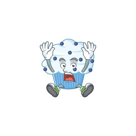 Vanilla blue cupcake cartoon character design showing shocking gesture. Vector illustration