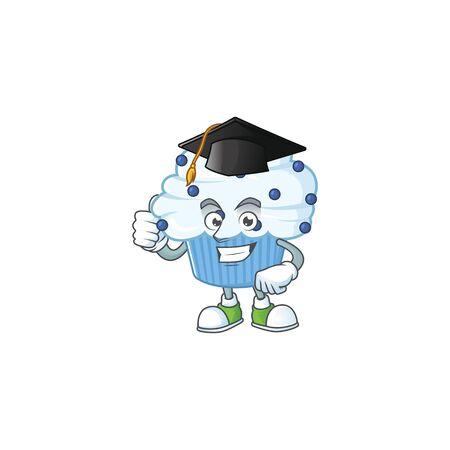 Mascot design concept of vanilla blue cupcake proudly wearing a black Graduation hat. Vector illustration