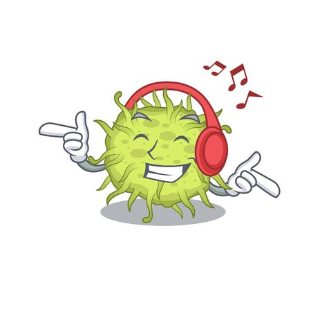 bacteria coccus Cartoon design concept listening music. Vector illustration