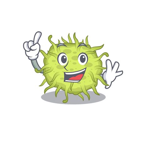bacteria coccus mascot character design with one finger gesture. Vector illustration