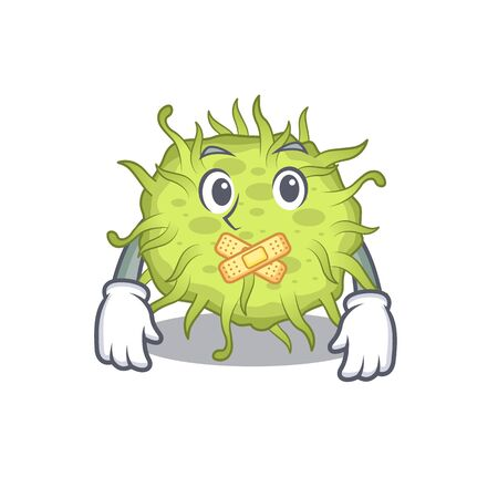 bacteria coccus cartoon character style with mysterious silent gesture. Vector illustration Vectores