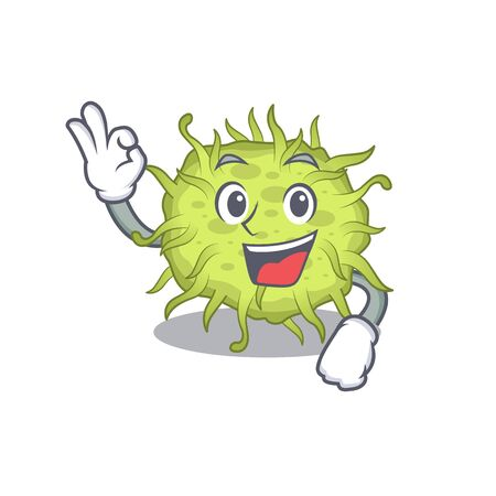 bacteria coccus mascot design style with an Okay gesture finger. Vector illustration Vectores