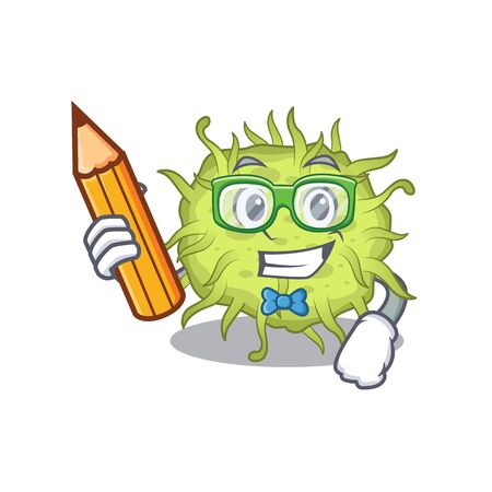 A brainy student bacteria coccus cartoon character with pencil and glasses. Vector illustration
