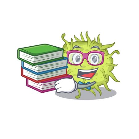 A diligent student in bacteria coccus mascot design concept with books. Vector illustration