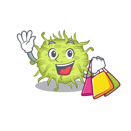Rich and famous bacteria coccus cartoon character holding shopping bags. Vector illustration