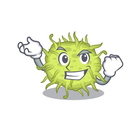 A dazzling bacteria coccus mascot design concept with happy face. Vector illustration