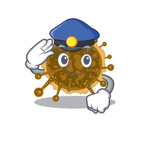 Police officer mascot design of negarnaviricota wearing a hat. Vector illustration
