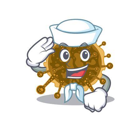 Sailor cartoon character of negarnaviricota with white hat. Vector illustration Illustration