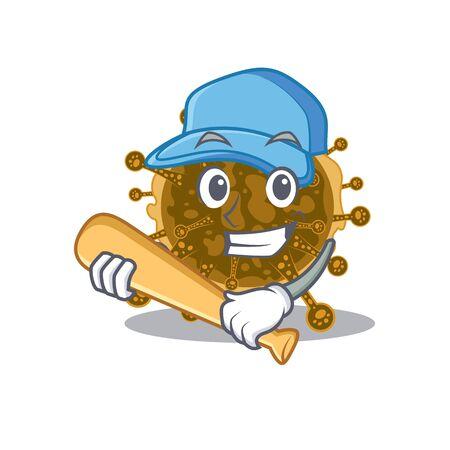 Picture of negarnaviricota cartoon character playing baseball. Vector illustration Illustration