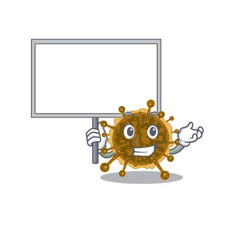 An icon of negarnaviricota mascot design style bring a board. Vector illustration