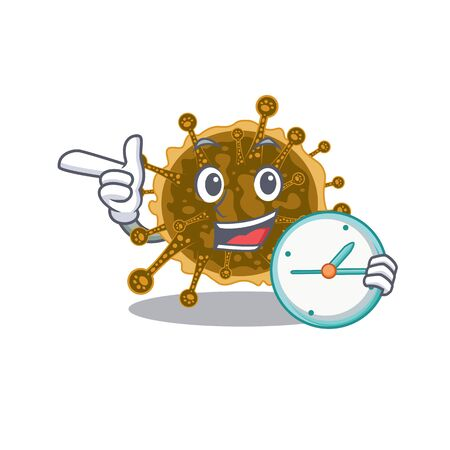 negarnaviricota mascot design concept smiling with clock. Vector illustration Illustration