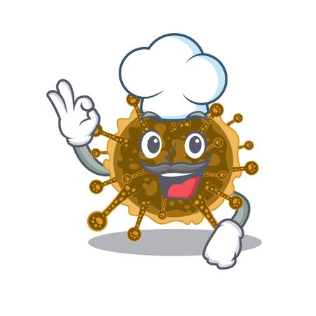 negarnaviricota chef cartoon design style wearing white hat. Vector illustration