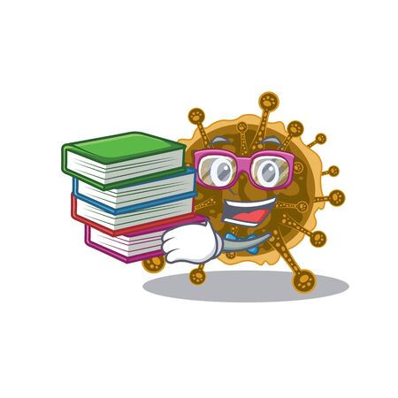 A diligent student in negarnaviricota mascot design concept with books. Vector illustration