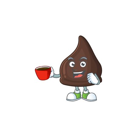 An image cartoon character of chocolate conitos with a cup of coffee. Vector illustration