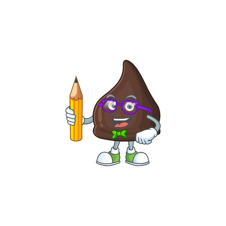 Chocolate conitos student cartoon character studying with pencil. Vector illustration 向量圖像