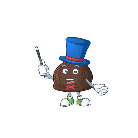Talented chocolate conitos Magician cartoon design style. Vector illustration
