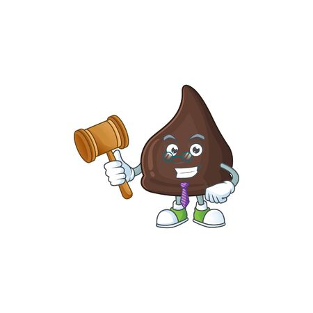 Charismatic Judge chocolate conitos cartoon character design with glasses. Vector illustration Vetores
