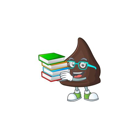 A mascot design of chocolate conitos student character with book. Vector illustration