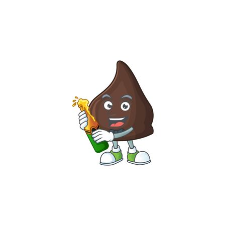 Mascot cartoon design of chocolate conitos making toast with a bottle of beer. Vector illustration Vetores