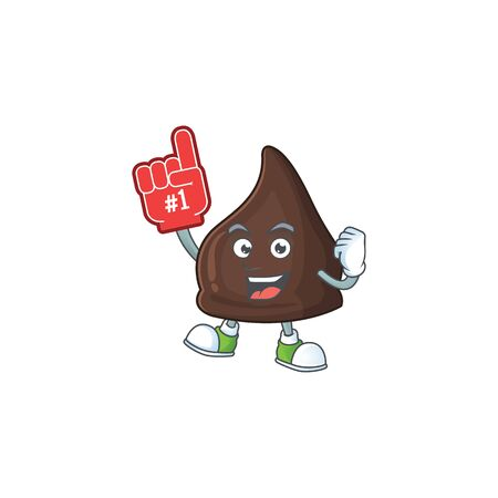 Cartoon character concept of chocolate conitos holding red foam finger. Vector illustration