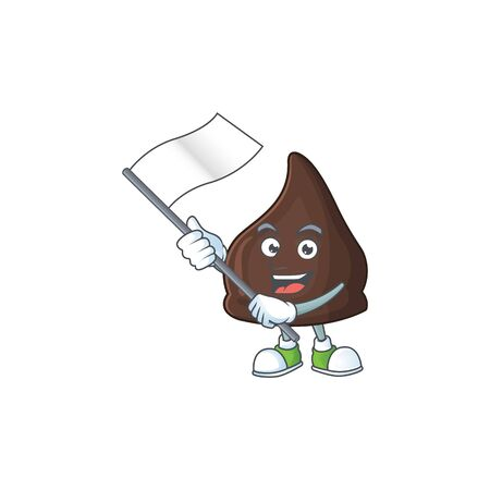 Cute cartoon character of chocolate conitos holding white flag. Vector illustration Ilustração